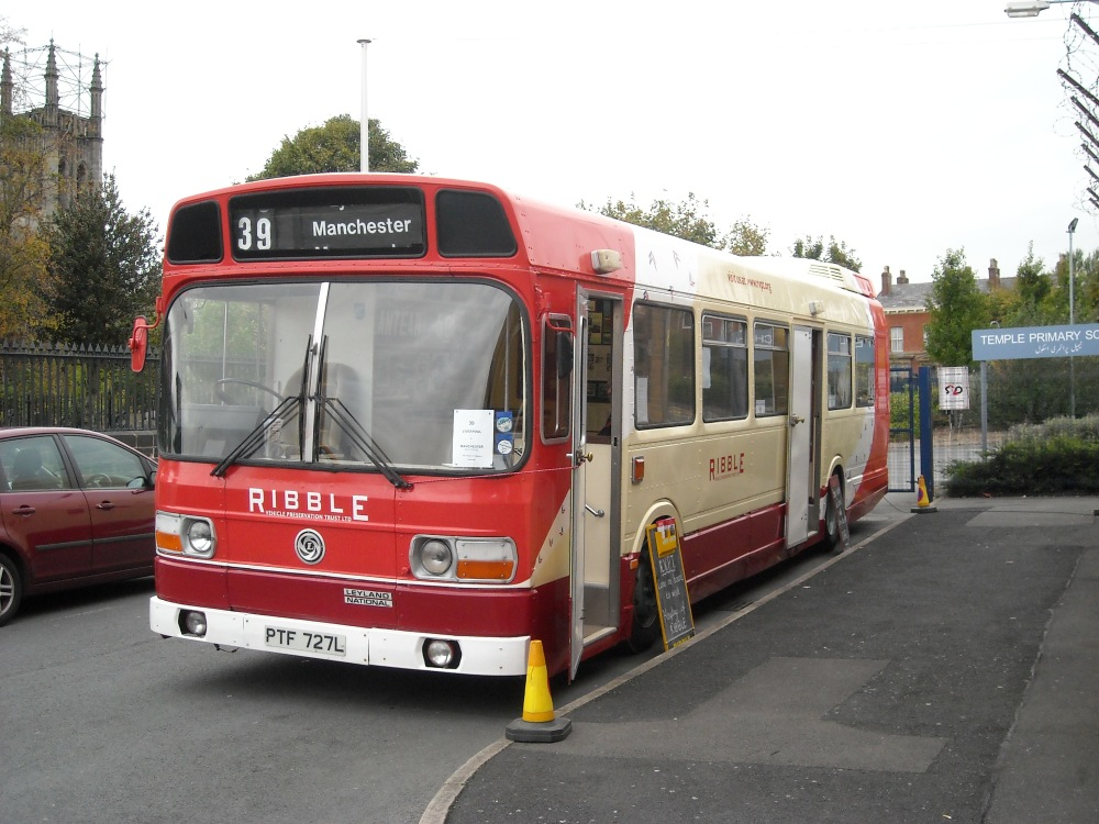 Ribble_Vehicle_Preservation_Society_exhibition_bus_(PTF_727L),_MMT_Atlantean_50_event_(2)