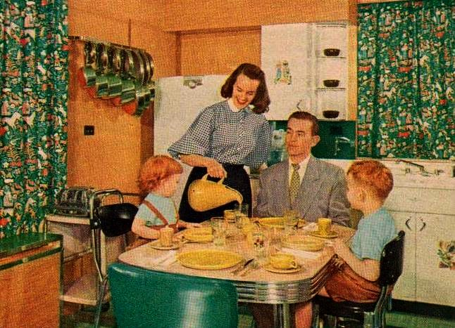 The-Grafes-usually-eat-breakfast-and-lunch-in-the-kitchen-and-the-children-occasionally-enjoy-an-afternoon-snack-there.-Fran-uses-a-utility-cart-to-save-herself-work-and-steps.-family-circle-magazine-1959