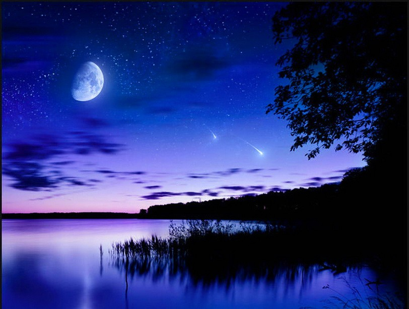 Sky Stars Moon Water Night Trees Comets Evgeny Kuklev Wallpaper Hd