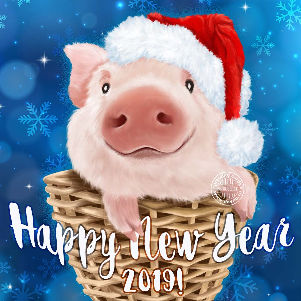 Happy New Year 2019 Card - Year of Pig